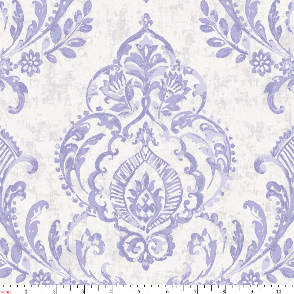 Product image for Lilac Painted Damask Fabric