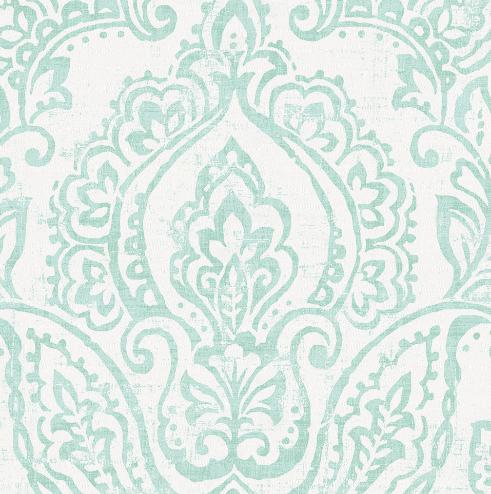 Product image for White and Icy Mint Vintage Damask Lumbar Pillow