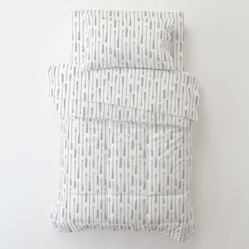 Product image for Silver Gray Hand Drawn Arrow Toddler Comforter