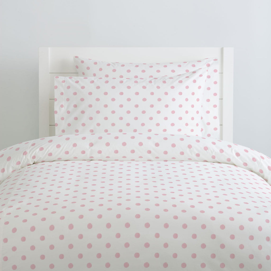 Product image for White and Pink Polka Dot Pillow Case