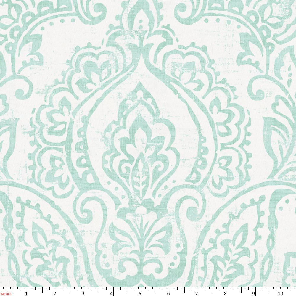 Product image for White and Icy Mint Vintage Damask Fabric