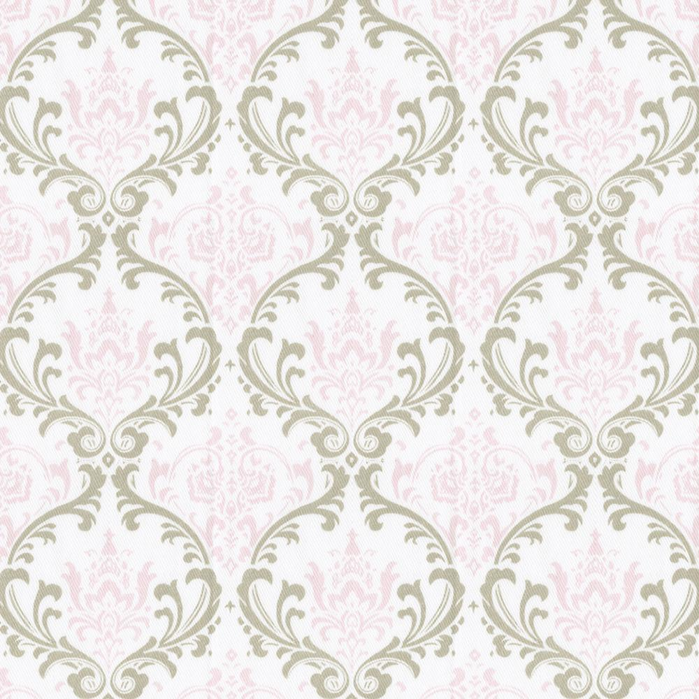 Product image for Pink and Taupe Damask Mini Crib Skirt Gathered