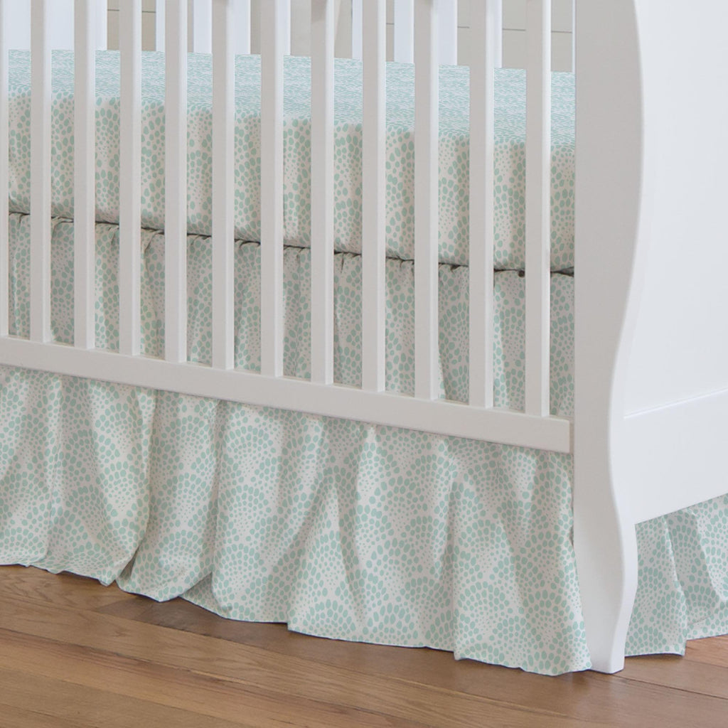 Product image for Icy Mint Scallop Dot Crib Skirt Gathered