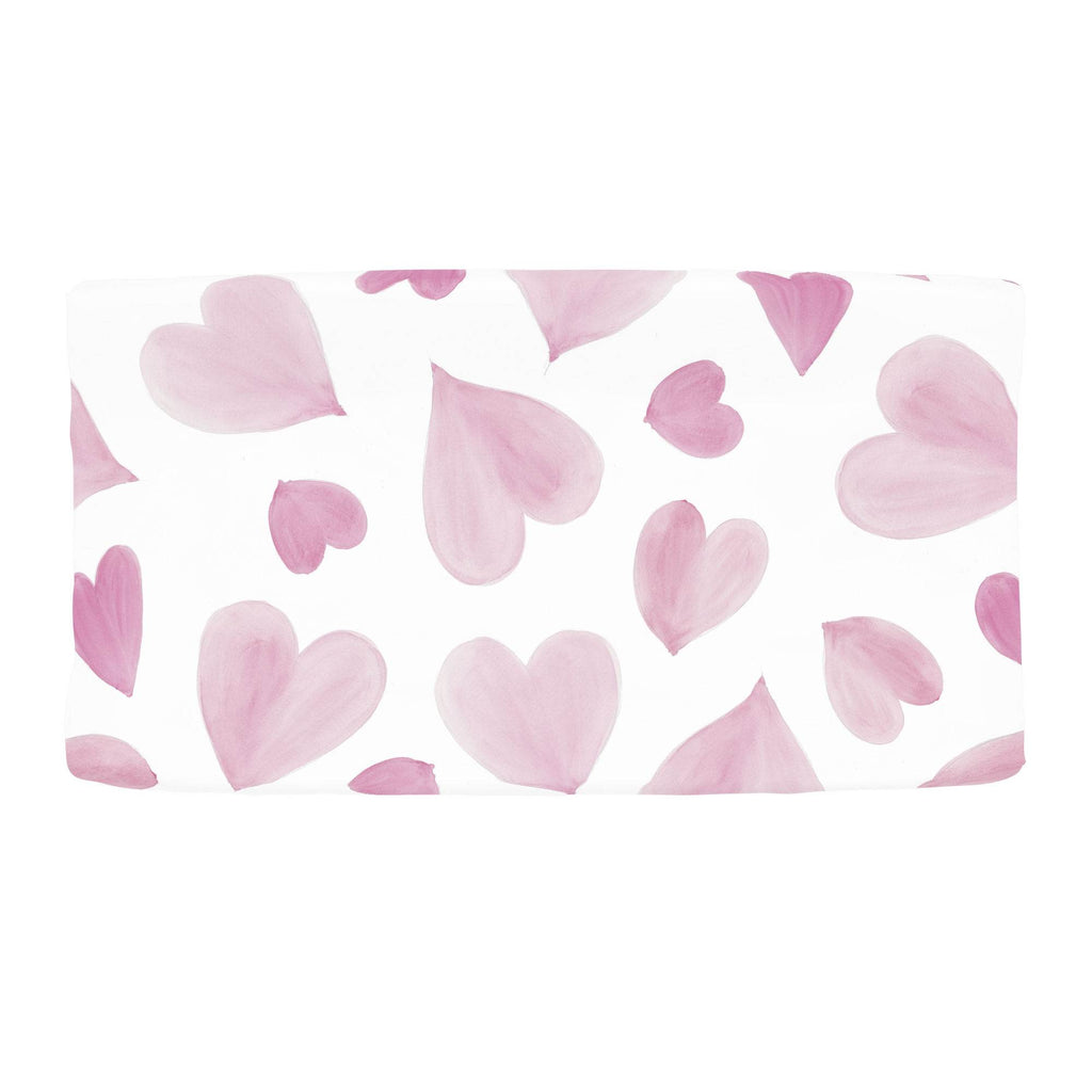 Product image for Pink Watercolor Hearts Changing Pad Cover