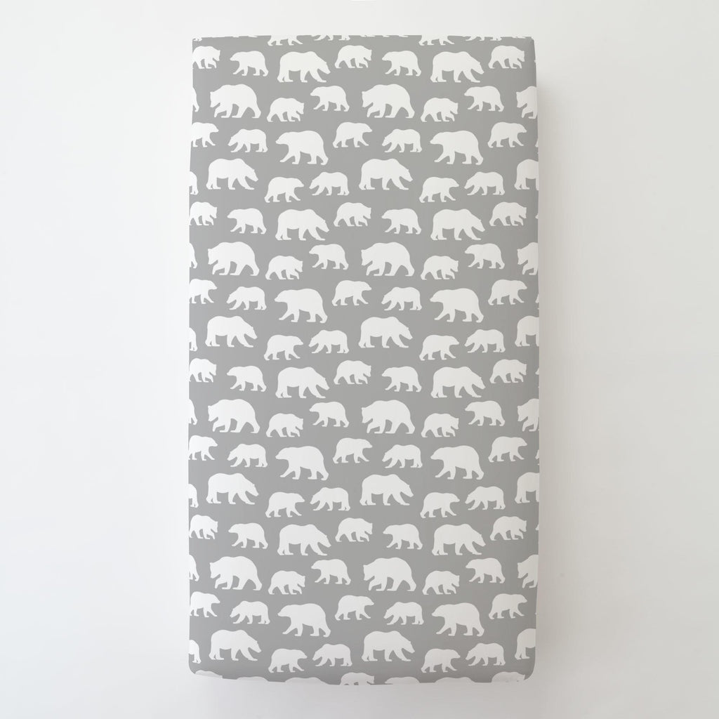 Product image for Silver Gray and White Bears Toddler Sheet Bottom Fitted