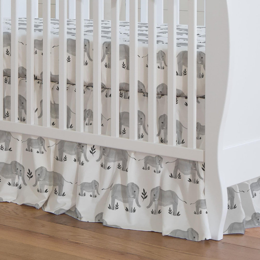 Product image for Gray Painted Elephants Crib Skirt Gathered