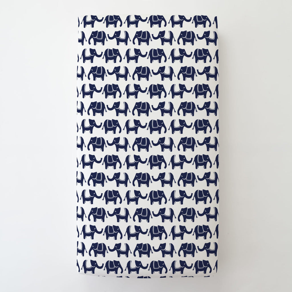 Product image for Navy Marching Elephants Toddler Sheet Bottom Fitted