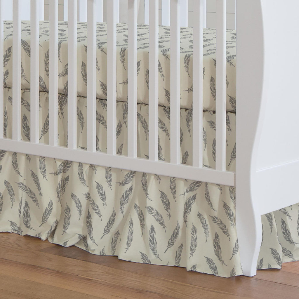 Product image for Natural Gray Feathers Crib Skirt Gathered