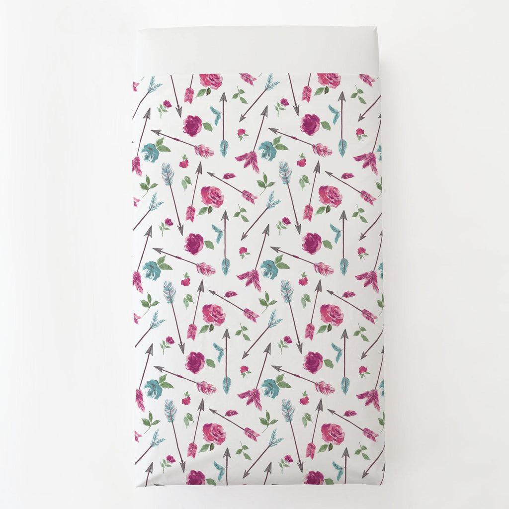 Product image for Floral Arrow Toddler Sheet Top Flat