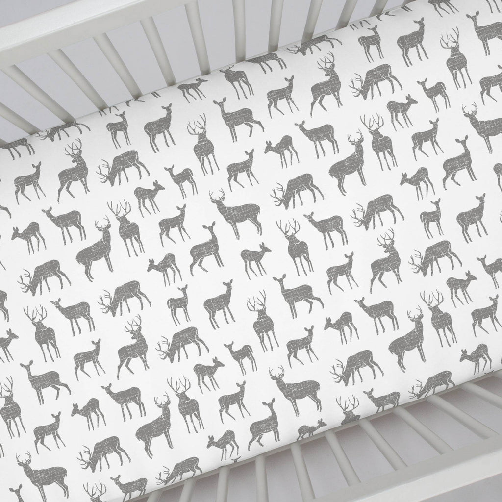 Product image for Cloud Gray Deer Crib Sheet