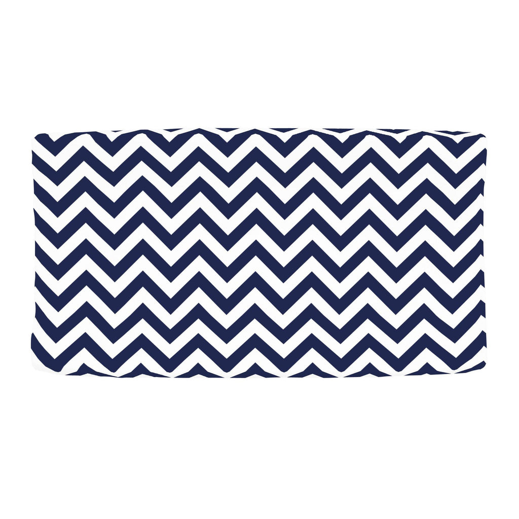 Product image for White and Navy Zig Zag Changing Pad Cover