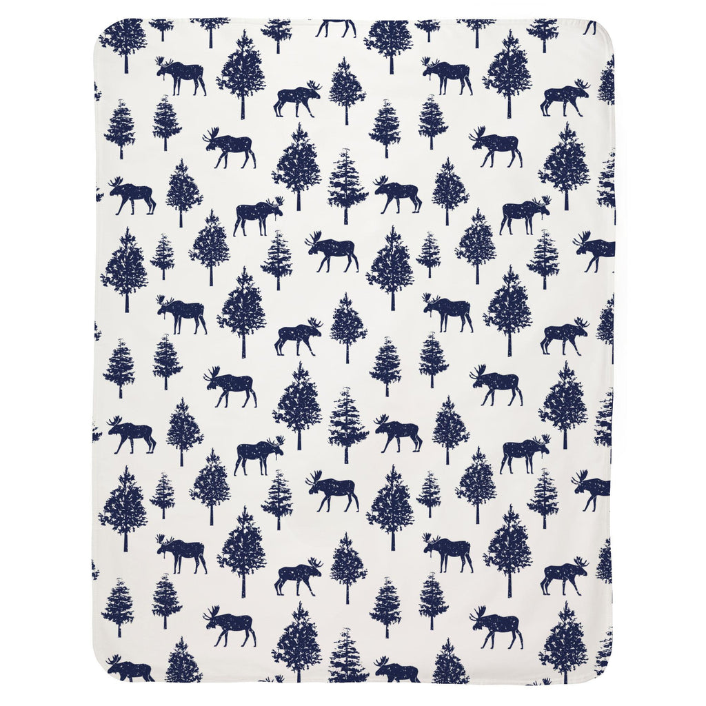 Product image for Navy Moose Baby Blanket