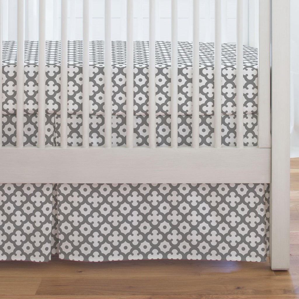 Product image for Cloud Gray Moroccan Tile Crib Skirt Single-Pleat