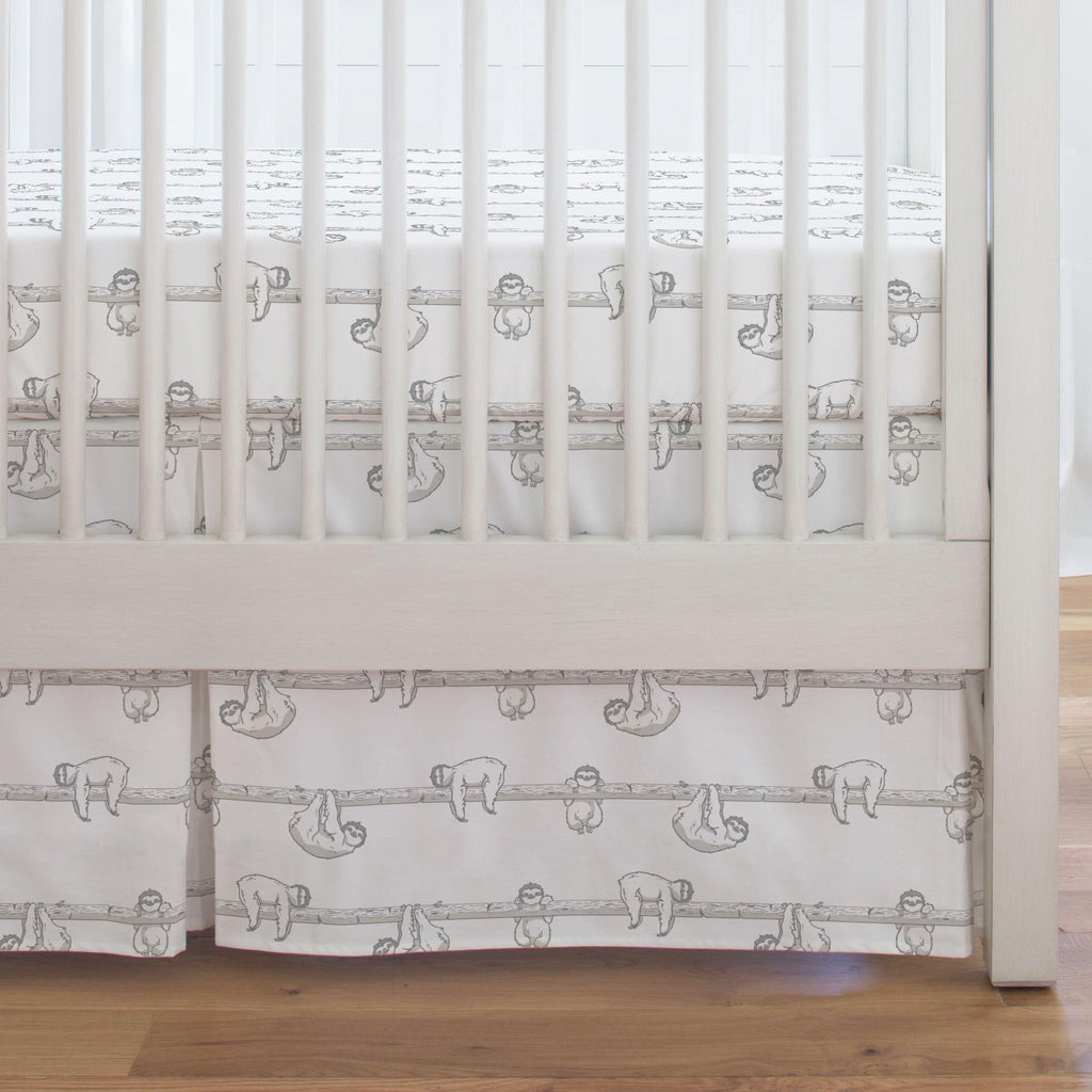 Product image for Gray Sloth Crib Skirt Single-Pleat