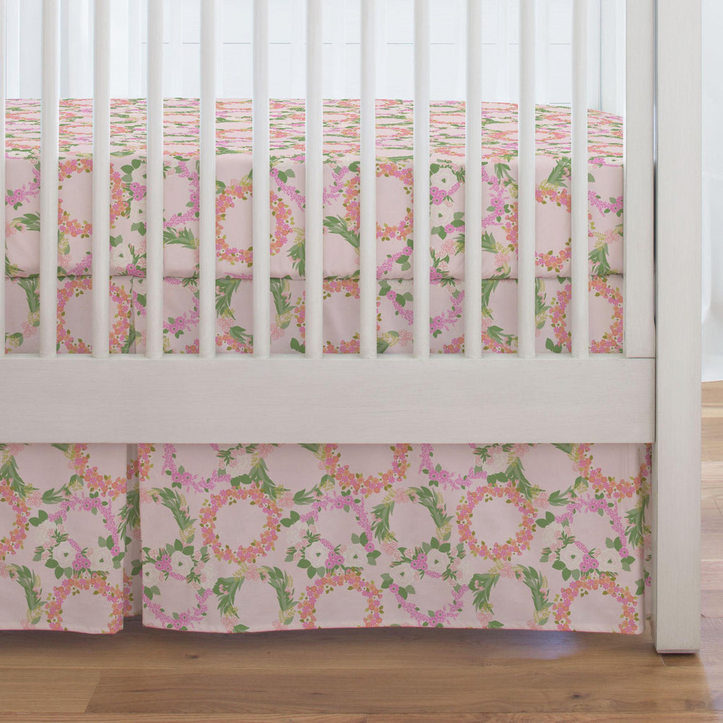 Product image for Pink and Coral Floral Wreath Crib Skirt Single-Pleat