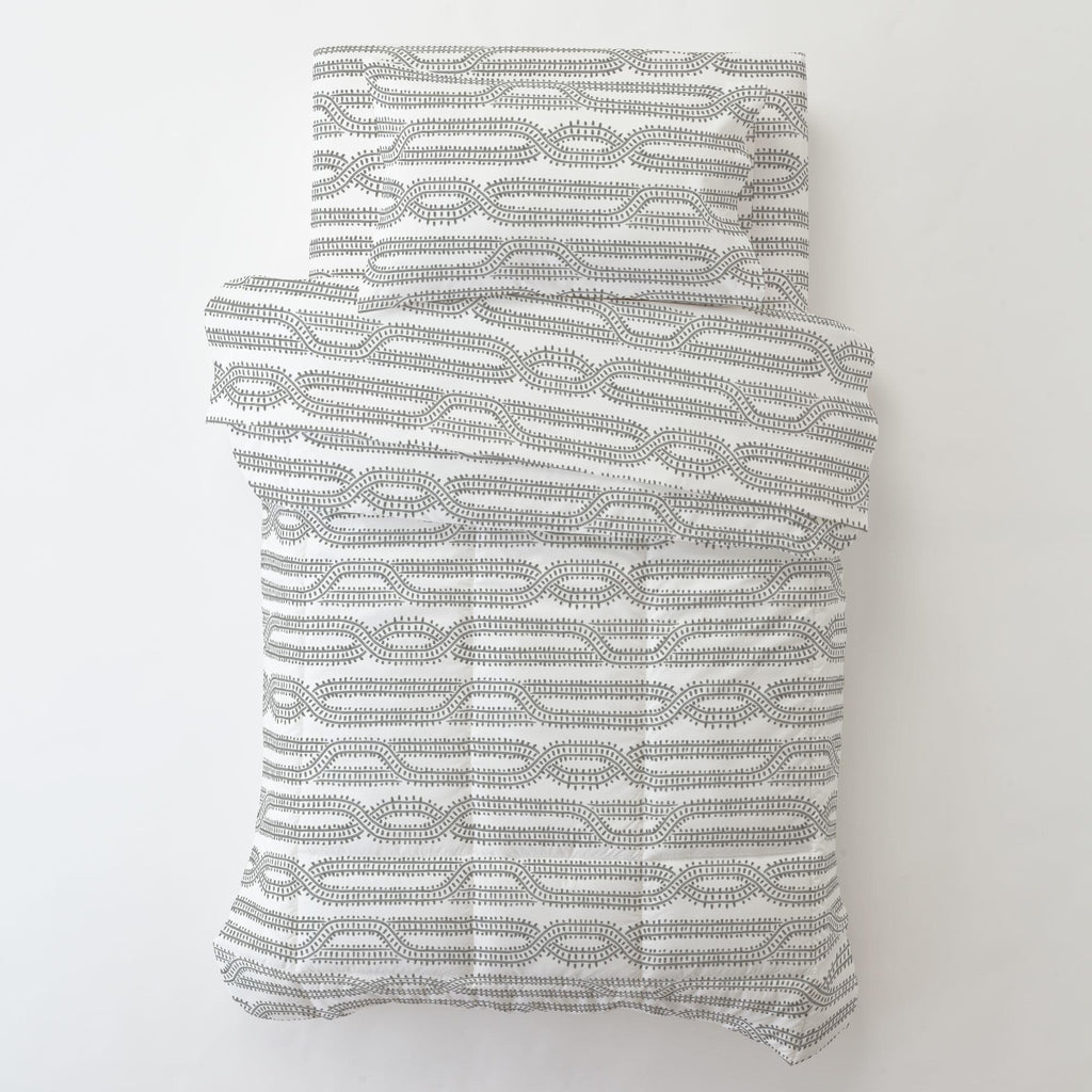 Product image for Gray Train Tracks Toddler Comforter
