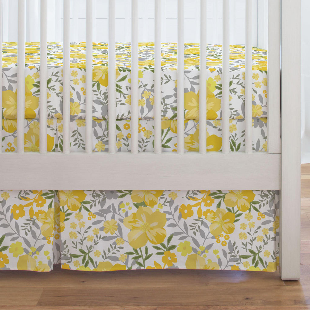Product image for Yellow Floral Tropic Crib Skirt Single-Pleat