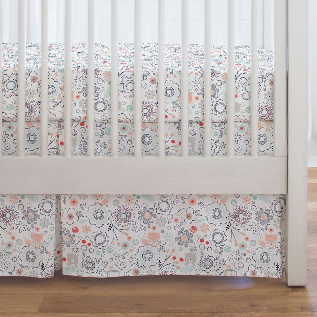 Product image for Coral Spring Doodles Crib Skirt Single-Pleat