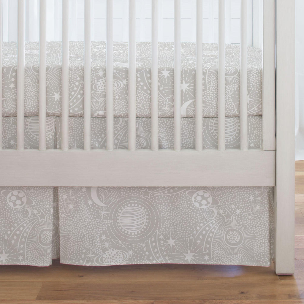 Product image for French Gray and White Galaxy Crib Skirt Single-Pleat