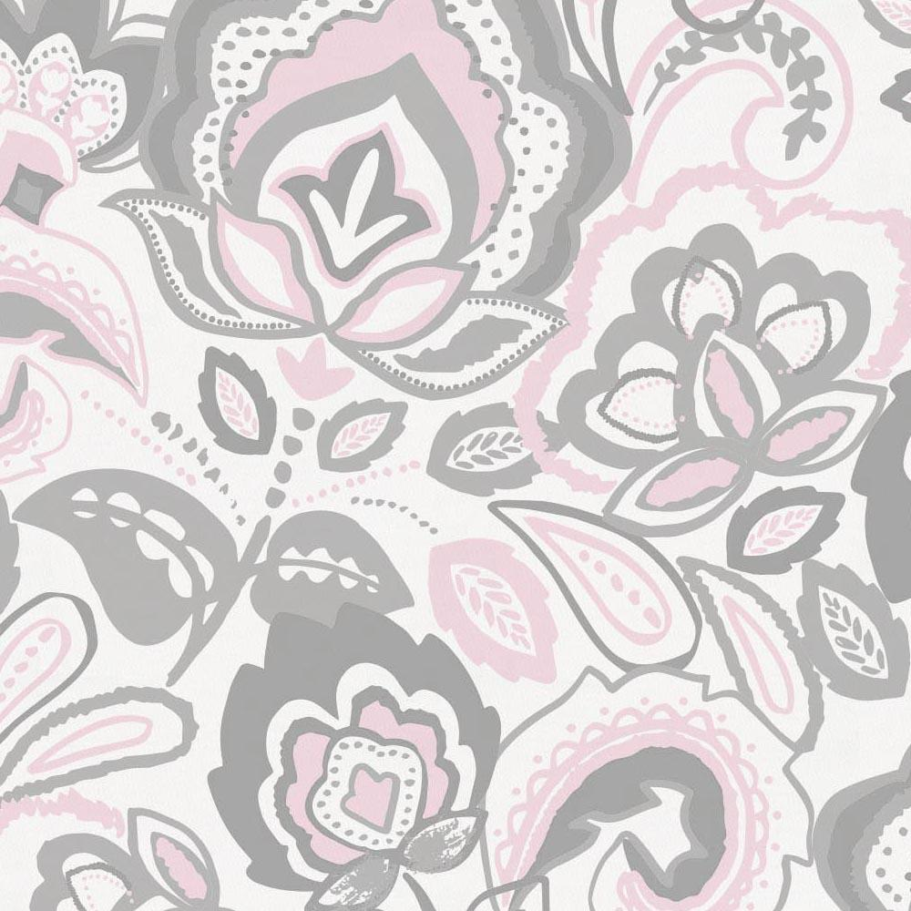 Product image for Pink and Gray Jacobean Drape Panel