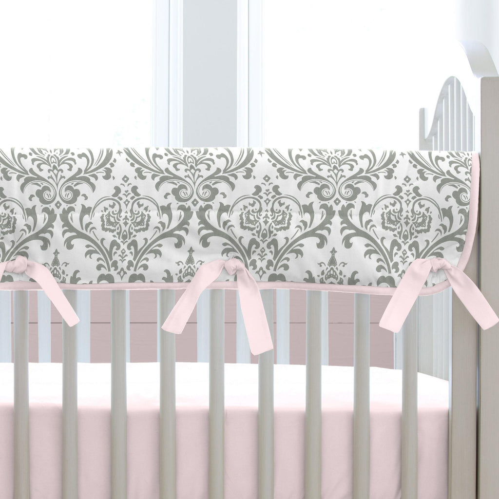 Product image for Pink and Gray Elephants Crib Rail Cover