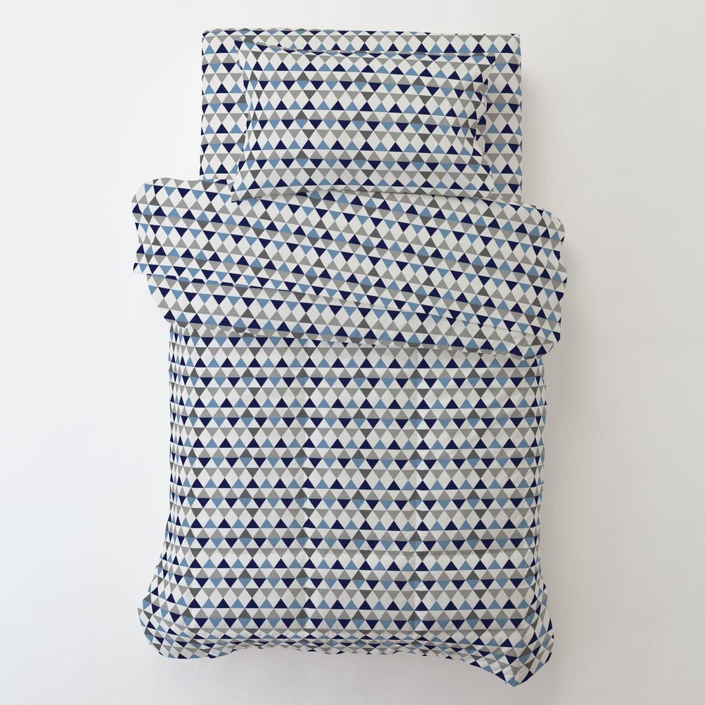 Product image for Gray and Blue Triangles Toddler Comforter
