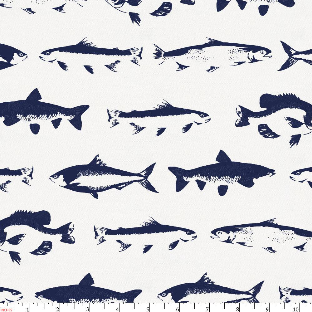 Product image for Windsor Navy Fish Fabric