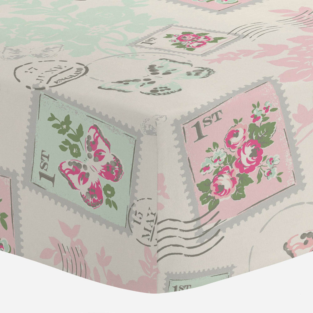 Product image for Blush and Ivory Vintage Stamp Mini Crib Sheet