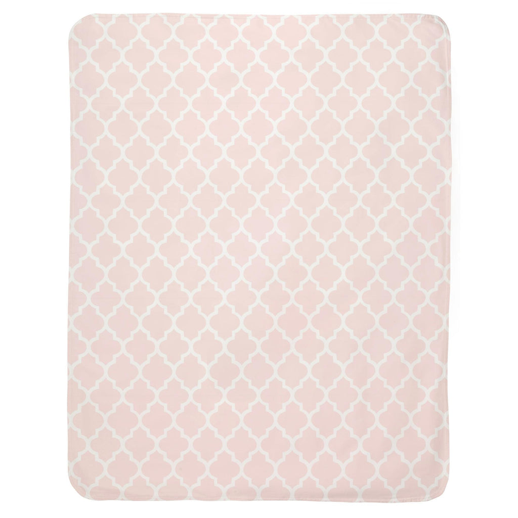 Product image for Blush Pink Hand Drawn Quatrefoil Baby Blanket