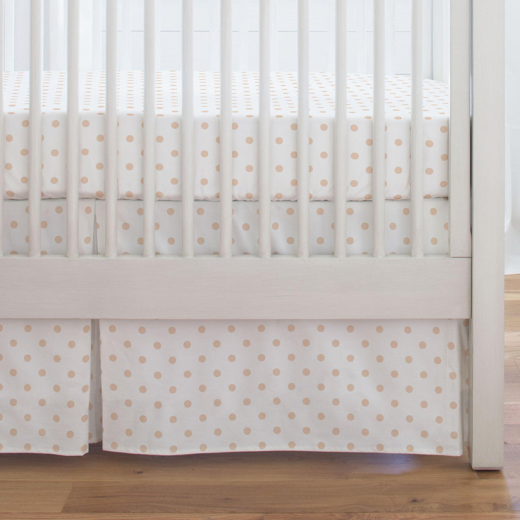 Product image for White and Peach Dot Crib Skirt Single-Pleat
