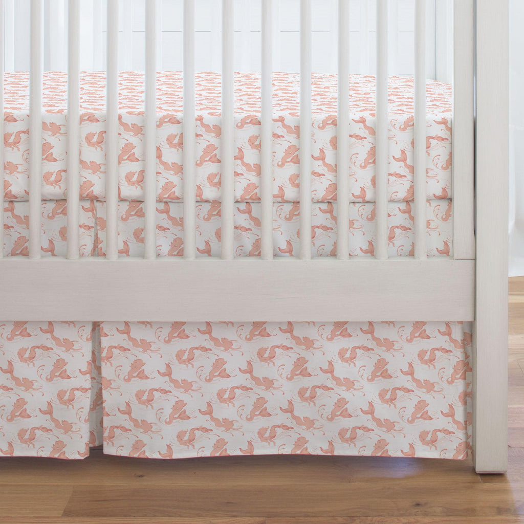 Product image for Peach Swimming Mermaids Crib Skirt Single-Pleat