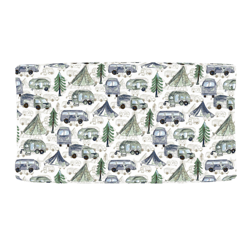 Product image for Navy and Seafoam Gone Camping Changing Pad Cover