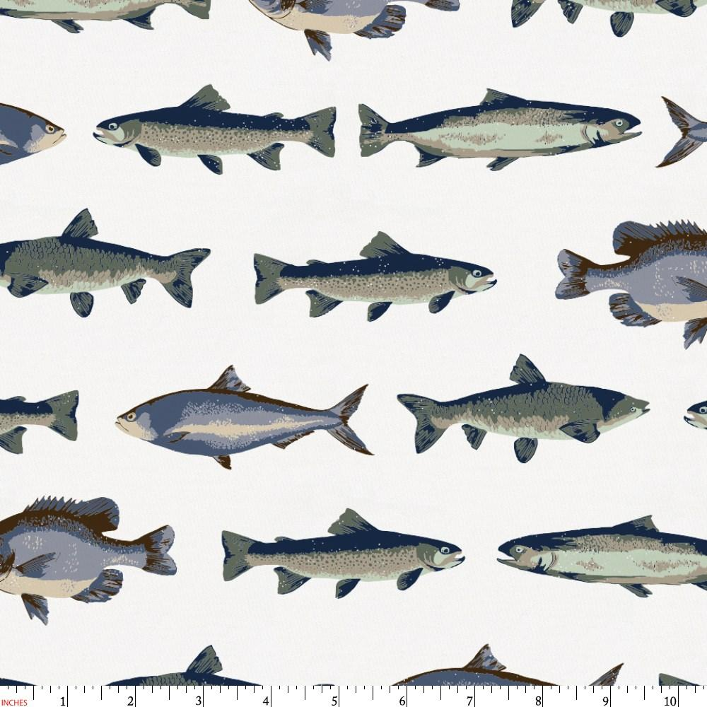 Product image for Navy and Seafoam Fish Fabric