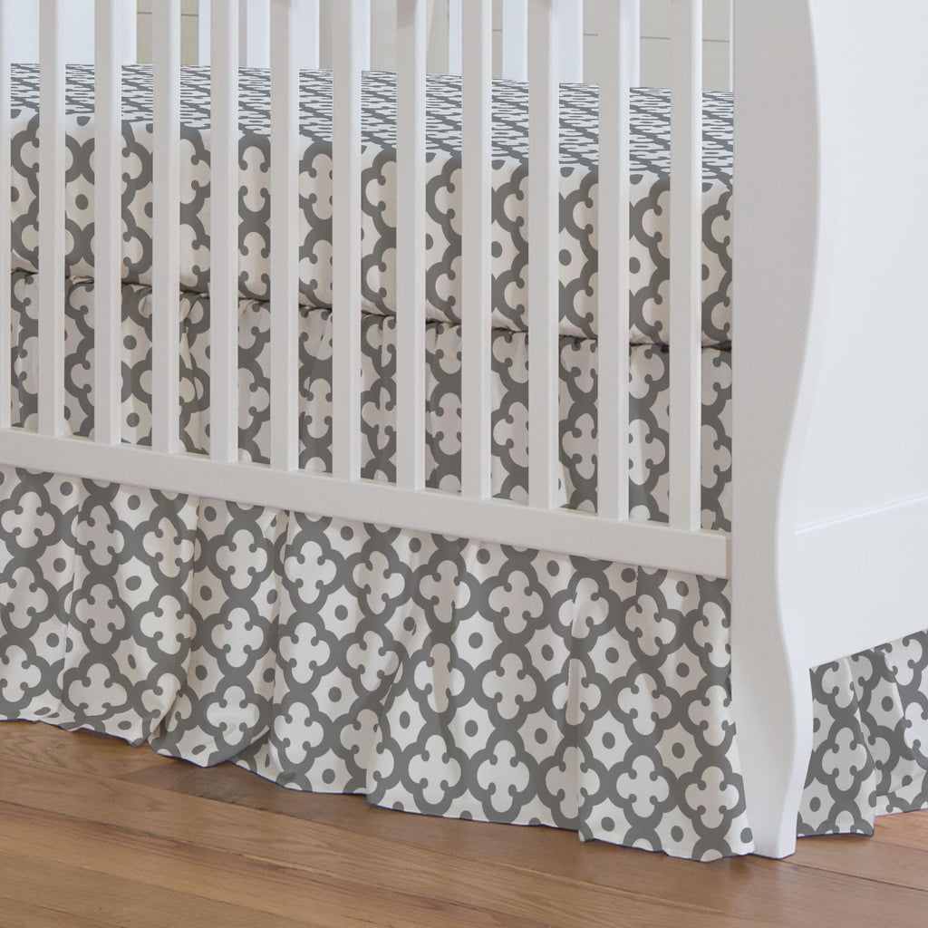 Product image for Cloud Gray Moroccan Tile Crib Skirt Gathered