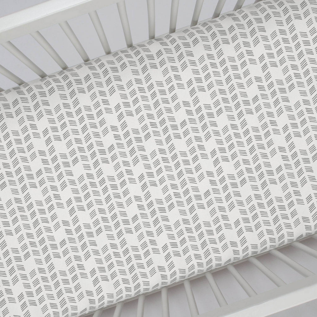 Product image for Silver Gray Tribal Herringbone Crib Sheet