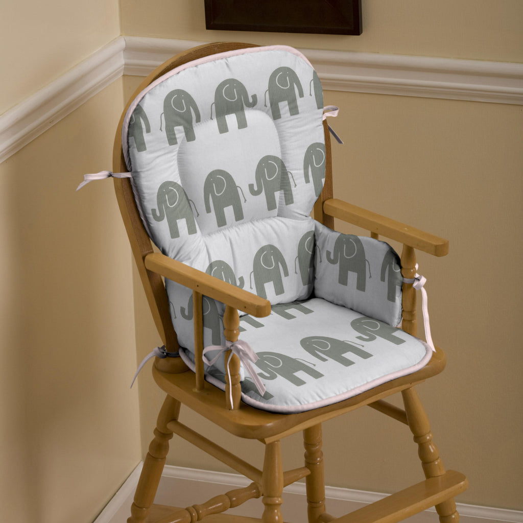 Product image for Pink and Gray Elephants High Chair Pad