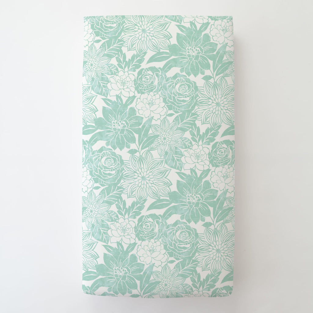 Product image for Mint Modern Blooms Toddler Sheet Bottom Fitted