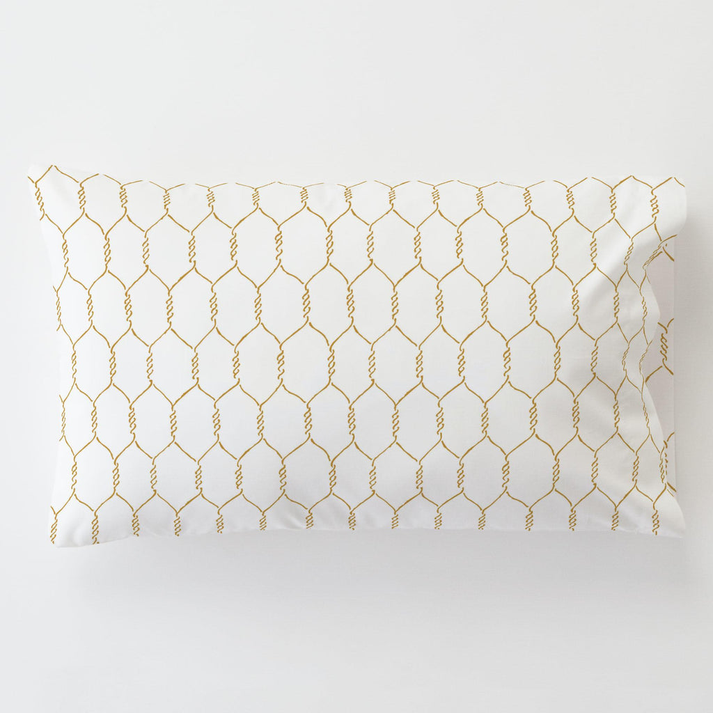 Product image for Mustard Farmhouse Wire Toddler Pillow Case