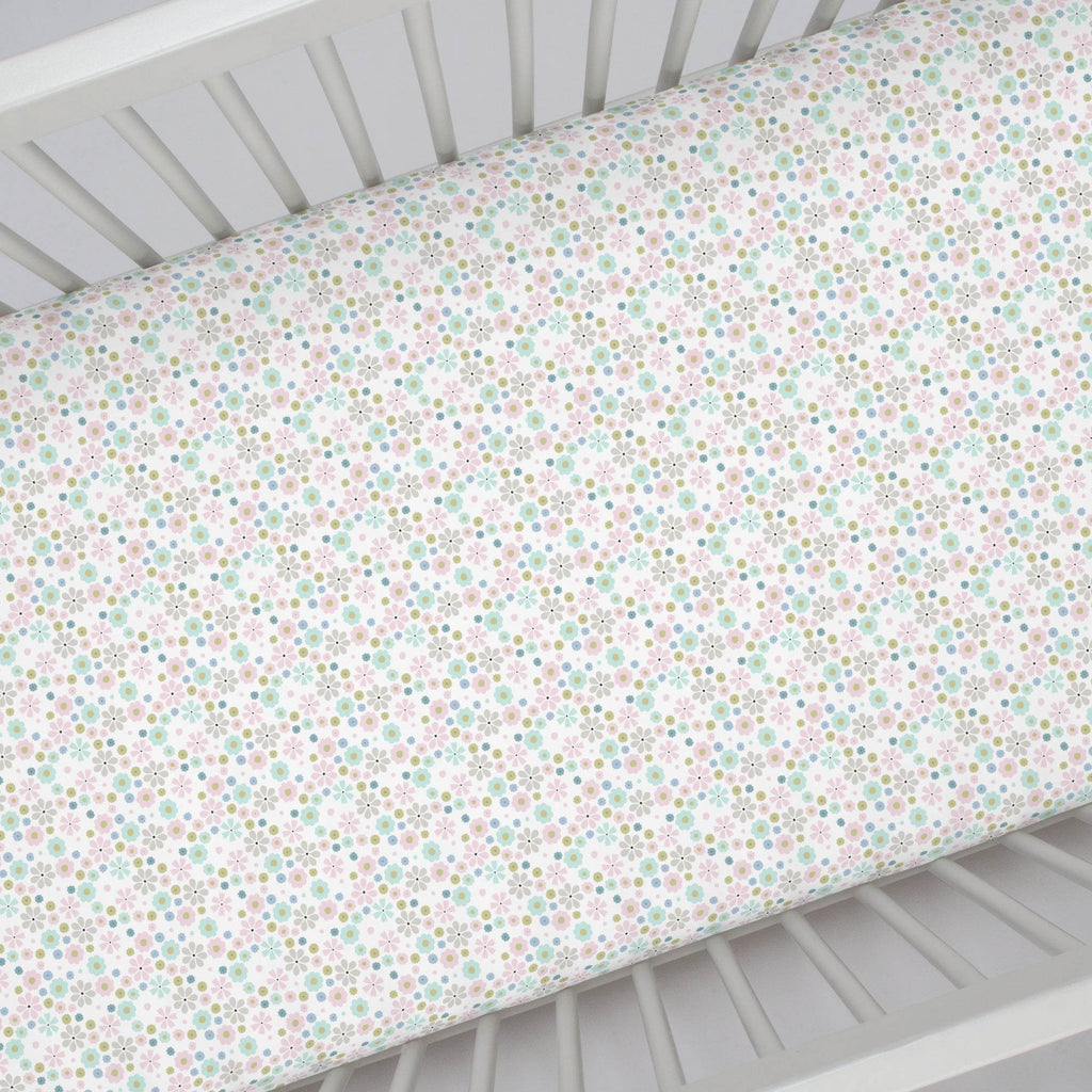 Product image for Pink Spring Flowers Crib Sheet