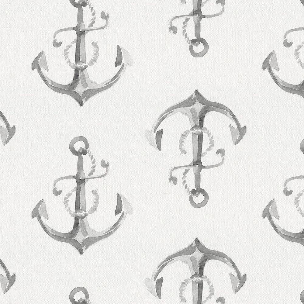 Product image for Gray Watercolor Anchors Drape Panel