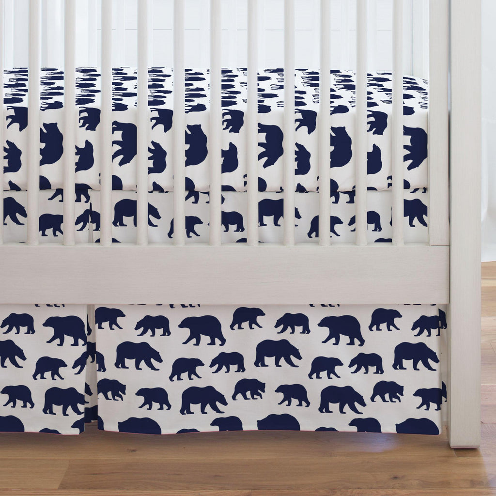 Product image for Navy Bears Crib Skirt Single-Pleat