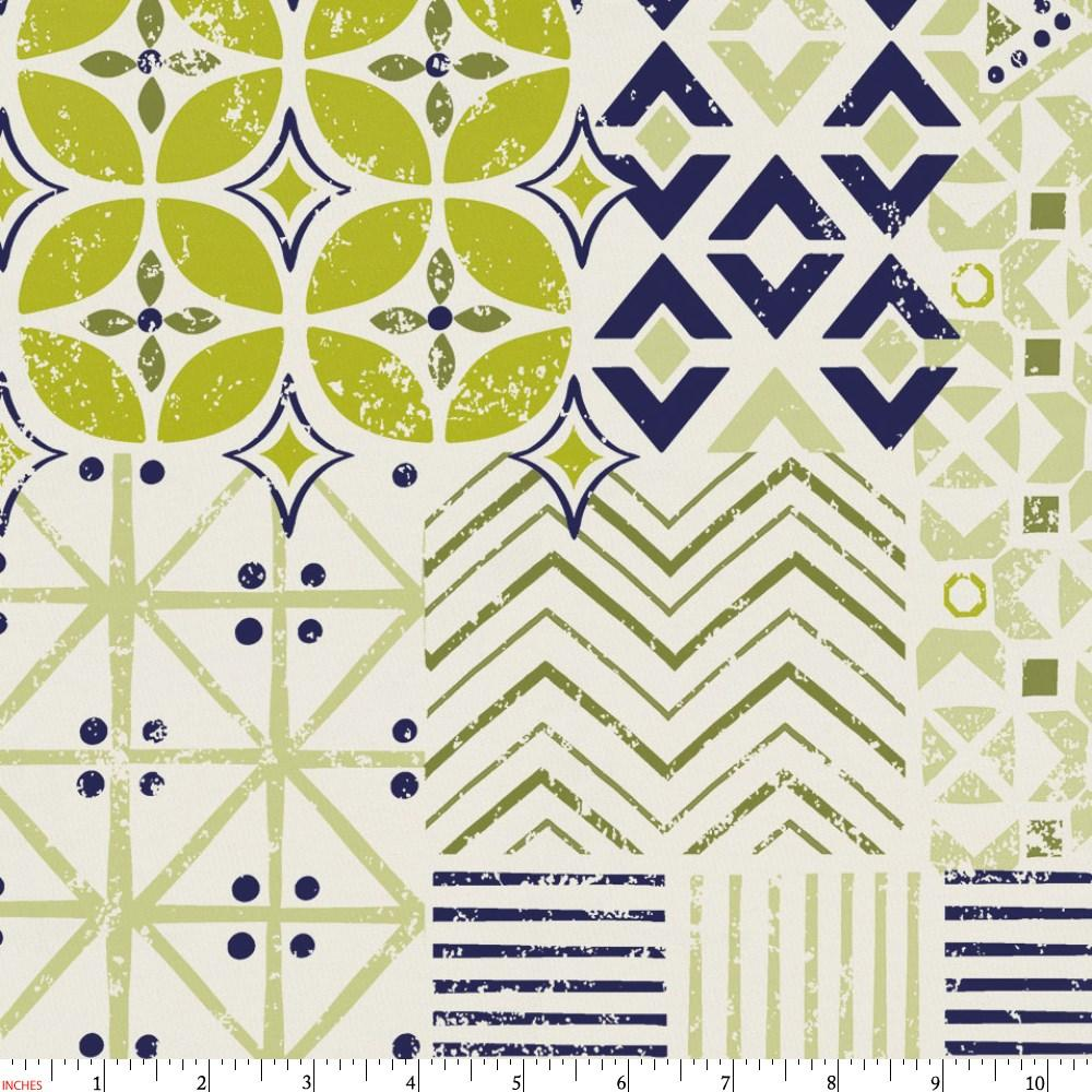 Product image for Citron and Navy Patchwork Fabric