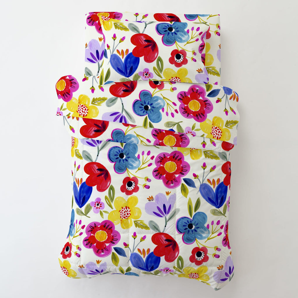 Product image for Primary Painted Flowers Toddler Comforter