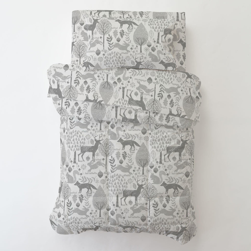 Product image for Gray Woodland Animals Toddler Pillow Case with Pillow Insert