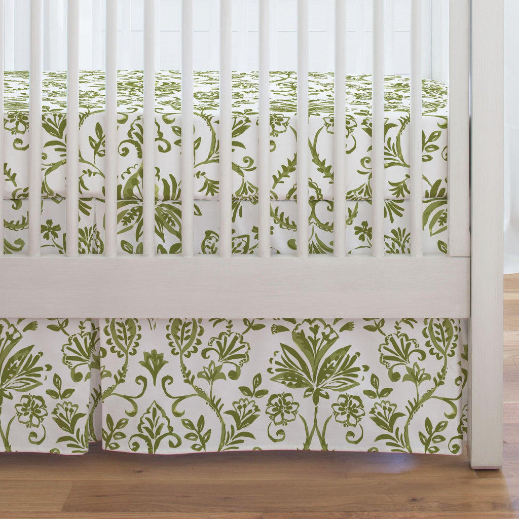 Product image for Sage Coastal Damask Crib Skirt Single-Pleat