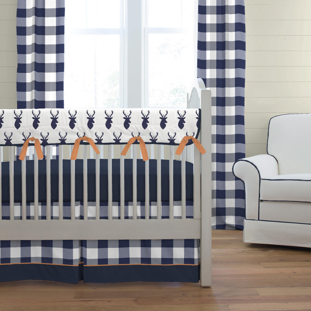 Product image for Navy and White Buffalo Check Crib Skirt with Trim