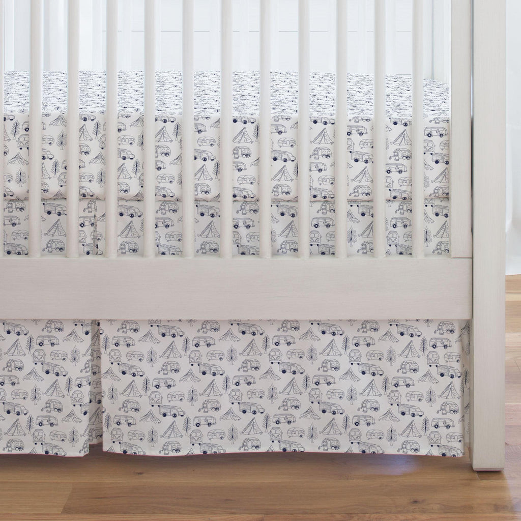 Product image for Navy Little Campers Crib Skirt Single-Pleat