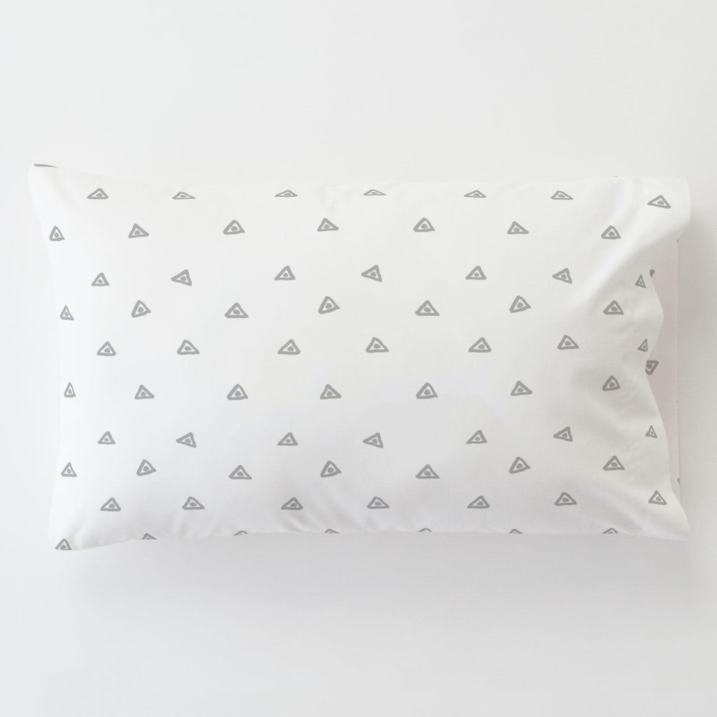 Product image for Silver Gray Triangle Dots Toddler Pillow Case