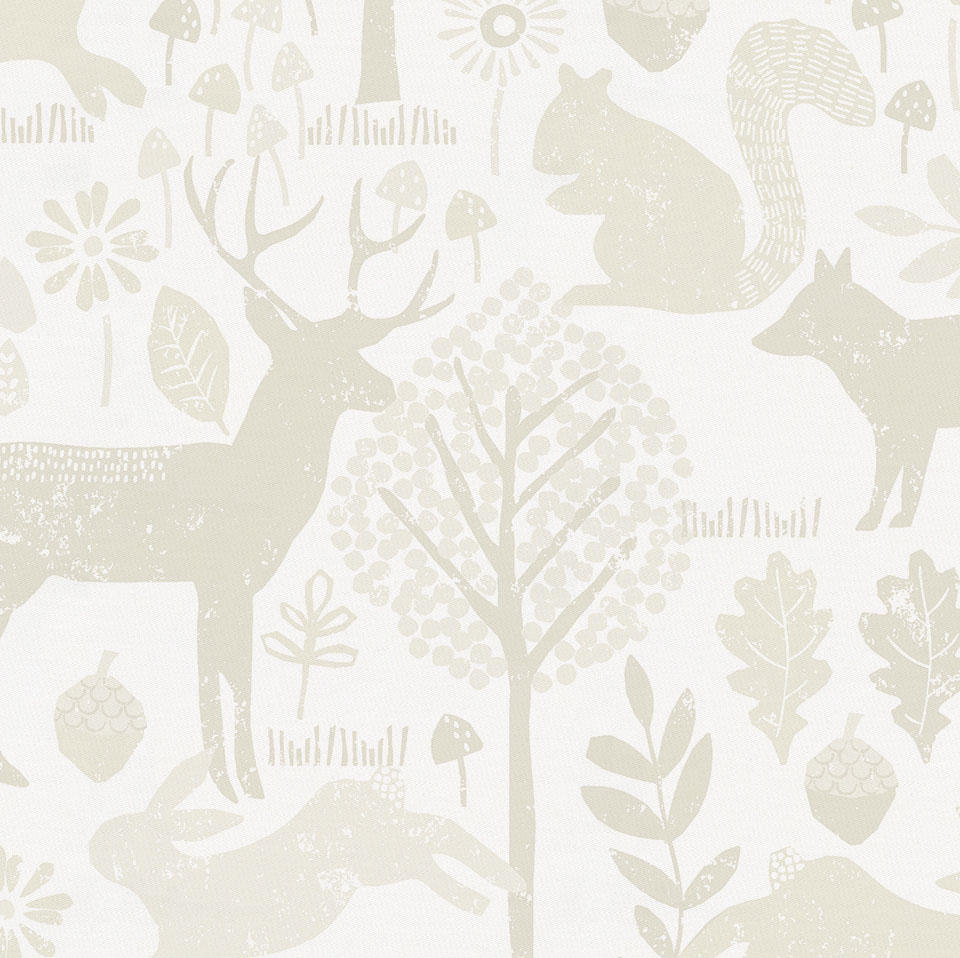 Product image for Ivory Woodland Animals Drape Panel