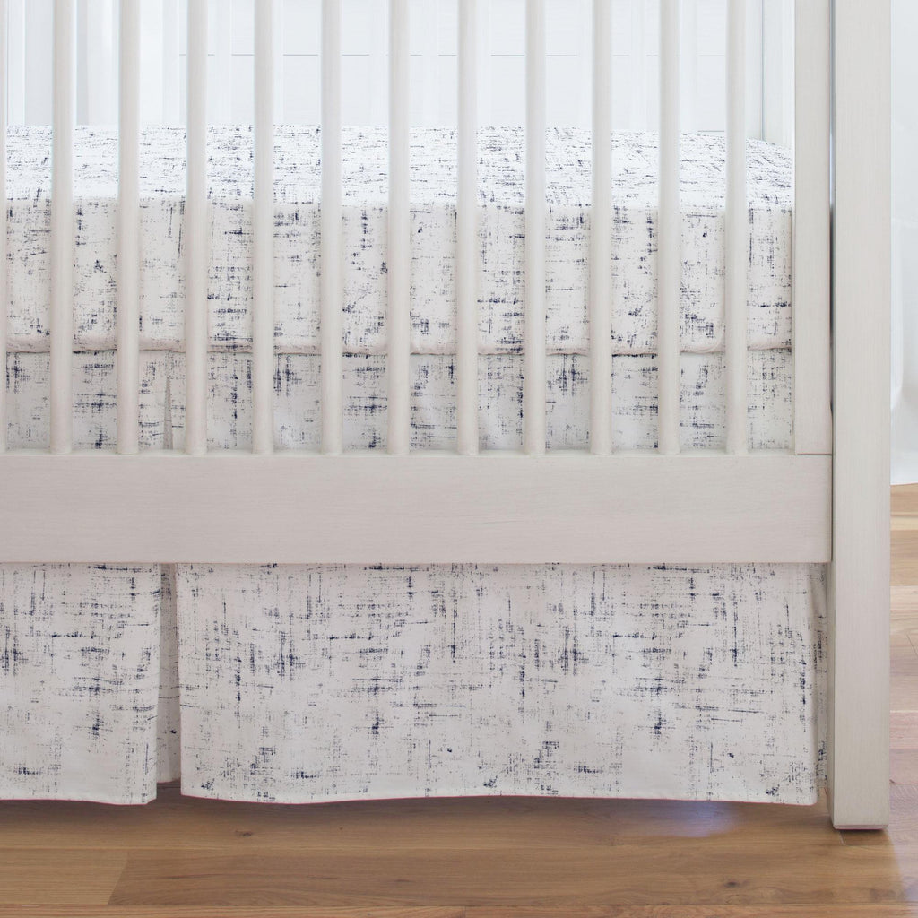 Product image for Navy Distressed Crib Skirt Single-Pleat